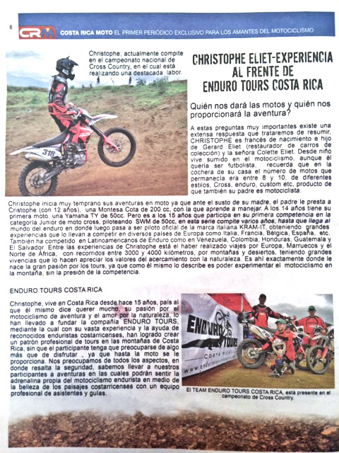 Christophe Eliet - Experiencia al Frente de Enduro Tours Costa Rica